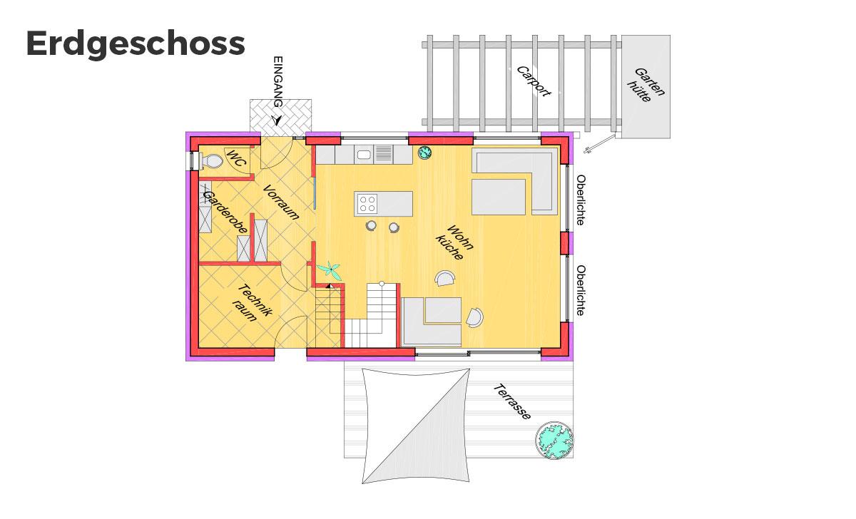 Marchfeldhaus Lean to Roof Grundriss Erdgeschoss
